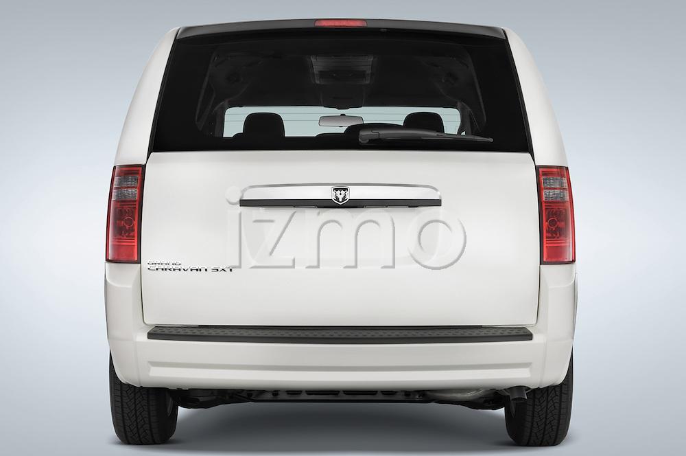 Straight rear view of 2008 Dodge Caravan