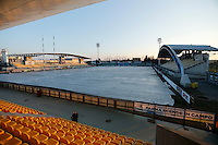 Photo: Richard Lane/Richard Lane Photography. Wasps team run at Stadio Sergio Lanfranchi ahead of their European Champions Cup game against Zebre at Parma. 21/01/2017. The pitch is covered to protect it from over night frosts.