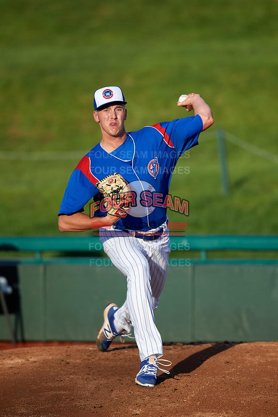 South Bend Cubs starting pitcher Bryan Hudson (52) warms up in the bullpen before a game against the Clinton LumberKings on May 5, 2017 at Four Winds Field in South Bend, Indiana.  South Bend defeated Clinton 7-6 in nineteen innings.  (Mike Janes/Four Seam Images)