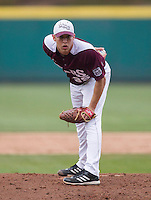 Grant Gordon (35) of the Missouri State Bears stands on the mound during a game against the Northwestern Wildcats at Hammons Field on March 9, 2013 in Springfield, Missouri. (David Welker/Four Seam Images)