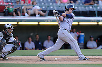 Third baseman Lonnie Chisenhall (15) of the Columbus Clippers bats in a game against the Charlotte Knights on Saturday, June 15, 2013, at Knights Stadium in Fort Mill, South Carolina. The Charlotte catcher is Bryan Anderson. Columbus won, 4-2. (Tom Priddy/Four Seam Images)