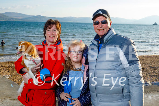 Enjoying a stroll in Fenit on Thursday, l to r: Kerry, Molly and John Griffin with Rosie the dog.