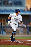 Charlotte Stone Crabs designated hitter Brendan McKay (31) runs to first base during a game against the Bradenton Marauders on August 6, 2018 at Charlotte Sports Park in Port Charlotte, Florida.  Charlotte defeated Bradenton 2-1.  (Mike Janes/Four Seam Images)