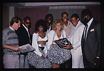 Vann McElroy, Reggie McKenzie, Jerry Robinson, Lester Hayes, Greg Townsend, Art Shell with the Cheerleaders