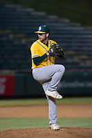 AZL Athletics relief pitcher Zack Kelly (19) delivers a pitch to the plate against the AZL Angels on July 22, 2017 at Tempe Diablo Stadium in Tempe, Arizona. AZL Athletics defeated the AZL Angels 5-4. (Zachary Lucy/Four Seam Images)