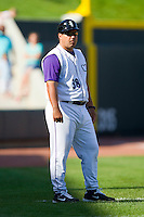 Winston-Salem Dash manager Julio Vinas #38 in the third base coaches box during the Carolina League game against the Wilmington Blue Rocks at BB&T Ballpark on April 24, 2011 in Winston-Salem, North Carolina.   Photo by Brian Westerholt / Four Seam Images