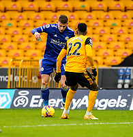 7th February 2021; Molineux Stadium, Wolverhampton, West Midlands, England; English Premier League Football, Wolverhampton Wanderers versus Leicester City; Harvey Barnes of Leicester City tries to create space whilst being marked by Nélson Semedo of Wolverhampton Wanderers