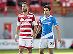 Hamilton Accies v St Johnstone…25.09.16.. New Douglas Park   SPFL<br />Aaron Comrie keeping an eye on on Alex D'Acol<br />Picture by Graeme Hart.<br />Copyright Perthshire Picture Agency<br />Tel: 01738 623350  Mobile: 07990 594431