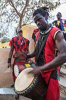 Drummers Welcoming Visitors to the Opening Ceremony of the Biannual Arts Festival (Regards sur Cours), Goree Island, Senegal.