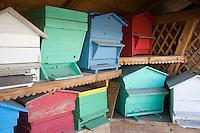 Europe/France/Rhone-Alpes/74/Haute-Savoie/Megève:  le rucher et les ruches multicolores d'une ferme