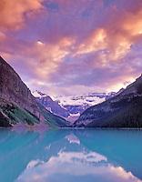 Lake Louise at sunset. Banff National Park, Canada.