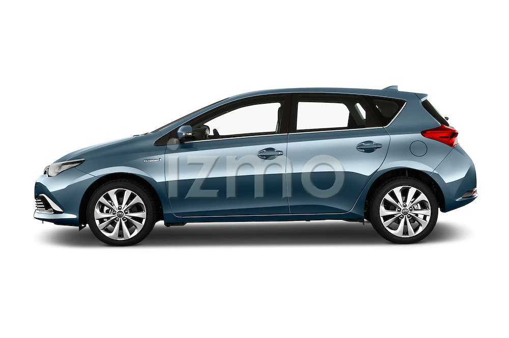 Driver side profile view of 2015 Toyota Auris Lounge 5 Door Hatchback Stock Photo