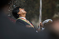 La Paz Bolivia<br /> A picture dated March 23, 2015 shows Bolivian President Evo Morales attending the ceremony to commemorate the loss of the access to the sea because of the conflict with Chile, the Pacific War in 1879.Every March 23, there are military parades in honor of the hero of the Pacific War Eduardo Avaroa.
