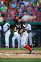 Great Lakes Loons outfielder Nick Sell (6) at bat during a game against the Kane County Cougars on August 13, 2015 at Fifth Third Bank Ballpark in Geneva, Illinois.  Great Lakes defeated Kane County 7-3.  (Mike Janes/Four Seam Images)