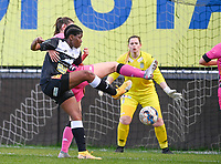 Henriette Awete (19) of Eendracht Aalst pictured with an attempt on goal during a female soccer game between Eendracht Aalst and Sporting Charleroi on the 18 th and last matchday before the play offs of the 2020 - 2021 season of Belgian Scooore Womens Super League , Saturday 27 th of March 2021  in Aalst , Belgium . PHOTO SPORTPIX.BE | SPP | DAVID CATRY