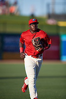 Clearwater Threshers left fielder Cornelius Randolph (2) jogs back to the dugout during a game against the Dunedin Blue Jays on April 7, 2017 at Spectrum Field in Clearwater, Florida.  Dunedin defeated Clearwater 7-4.  (Mike Janes/Four Seam Images)