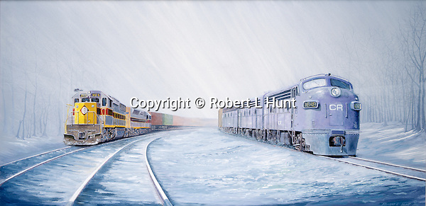 """Conrail F units running side by side with Erie Lackawanna diesels pulling a trailer train in winter snow, just after the federal railroad merger in 1976. Oil on canvas, 18"""" x 36""""."""