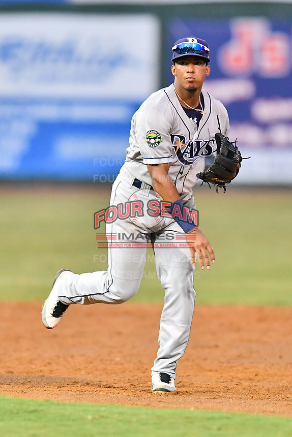Princeton Rays shortstop Wander Franco (6) throws to first base during game two of the Appalachian League Championship Series against the Elizabethton Twins at Joe O'Brien Field on September 5, 2018 in Elizabethton, Tennessee. The Twins defeated the Rays 2-1 to win the Appalachian League Championship. (Tony Farlow/Four Seam Images)