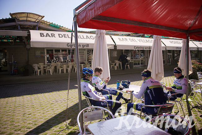 training/coffee ride with Team Orica-GreenEDGE at the Monza F1 race circuit 1 day before Milan-San Remo
