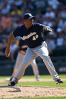 Milwaukee Brewers Pitcher Jose Veras #40 delivers during the Major League Baseball game against the Chicago White Sox on June 24, 2012 at US Cellular Field in Chicago, Illinois. The White Sox defeated the Brewers 1-0 in 10 innings. (Andrew Woolley/Four Seam Images).