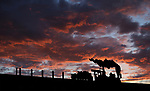 The sun sets behind a metal V&T railroad sculpture along I-580 in Carson City, Nev., on Friday, May 18, 2018. <br /> Photo by Cathleen Allison/Nevada Momentum