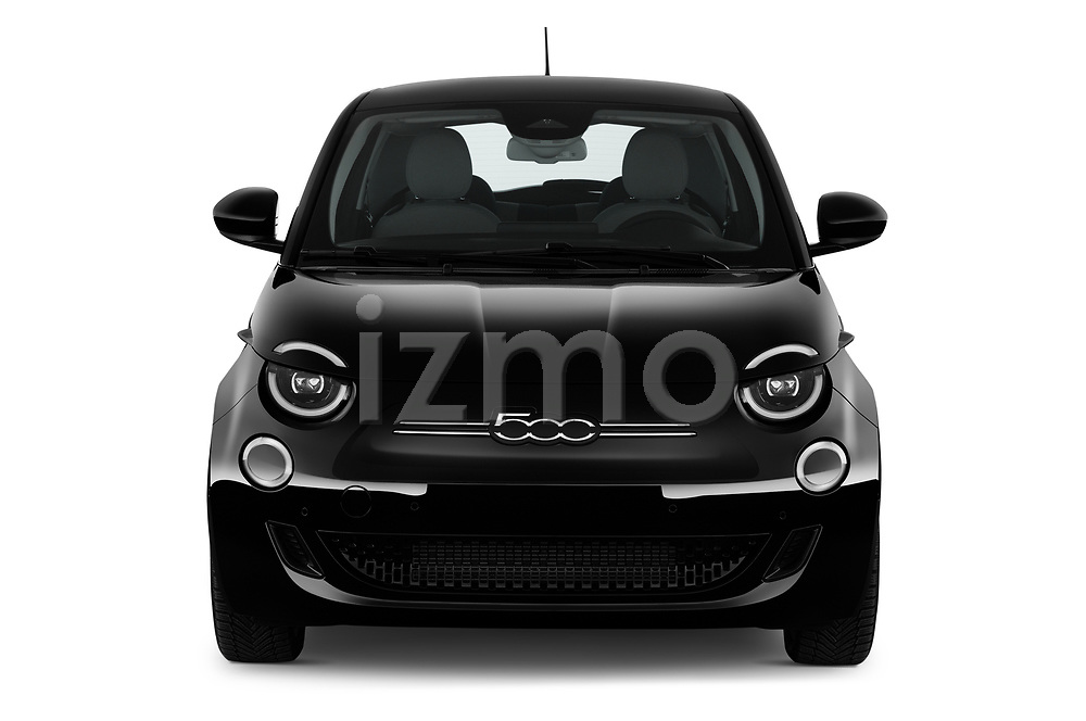 Car photography straight front view of a 2021 Fiat 500 Icon 3 Door Hatchback Front View