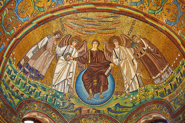 Apse mosaic depicting a clean shaven Christ, Byzantine Roman mosaics of the Basilica of San Vitale in Ravenna, Italy. Mosaic decoration paid for by Emperor Justinian I in 547. A UNESCO World Heritage Site