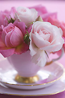 Old-fashioned roses are arranged in a charming small bouquet and displayed in an antique teacup and saucer