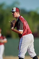 Jake Hunter (17) during the WWBA World Championship at Terry Park on October 10, 2020 in Fort Myers, Florida.  Jake Hunter, a resident of Rockwell, North Carolina who attends East Rowan High School, is committed to East Carolina.  (Mike Janes/Four Seam Images)