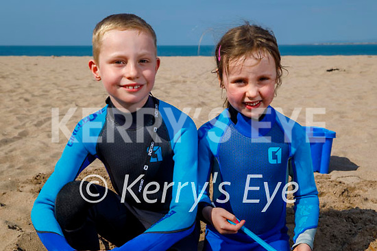 Enjoying playing in the sand on Derrymore beach on Saturday, l to r: Emma and Thomas Higgins.