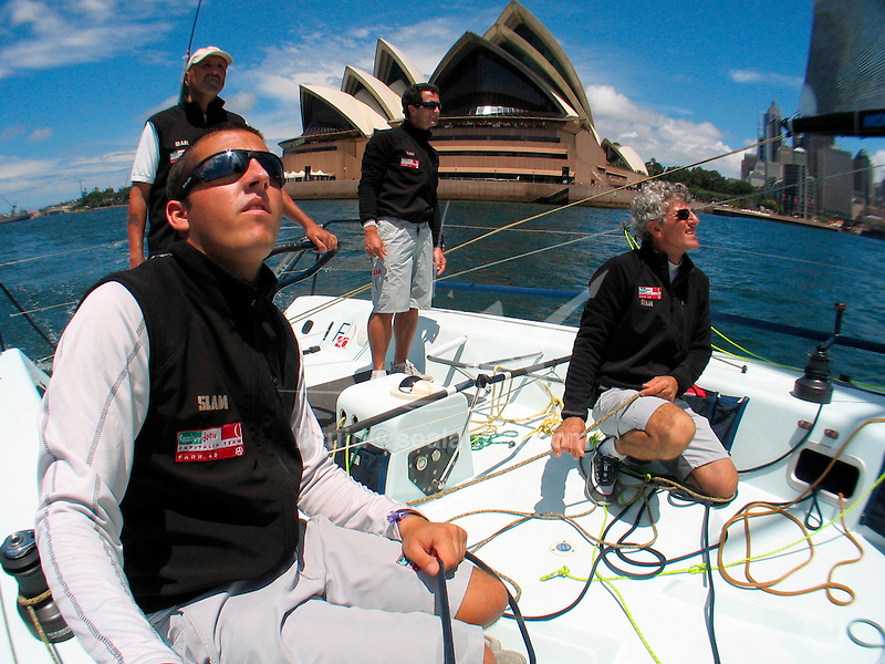 Onboard the Farr 40 Mascalzone Latino, owner Vincenzo Onorato for a training session in Sydney Harbour..The FARR ® 40 One Design was conceived as a high performance 40 footer that would gather the benefits of modern materials into an economic platform for short course racing that was demanding, exciting and not beyond the capabilities of relatively inexperienced and mature crew members.