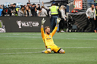 SEATTLE, WA - NOVEMBER 10: Stefan Frei #24 of the Seattle Sounders FC raises his arms in triumph at final whistle during a game between Toronto FC and Seattle Sounders FC at CenturyLink Field on November 10, 2019 in Seattle, Washington.