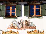 Germany, Bavaria, Upper Bavaria, Werdenfelser Land: Wallgau - brightly painted houses (so called Lueftlmalerei)