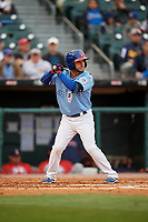 Buffalo Bisons shortstop Jonathan Diaz (4) bats during a game against the Pawtucket Red Sox on May 19, 2017 at Coca-Cola Field in Buffalo, New York.  Buffalo defeated Pawtucket 7-5 in thirteen innings.  (Mike Janes/Four Seam Images)
