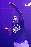 © Joel Goodman - 07973 332324 . No Editorial syndictaion permitted . 09/09/2017. Manchester , UK . Bugzy Malone performs . We Are Manchester reopening charity concert at the Manchester Arena with performances by Manchester artists including  Noel Gallagher , Courteeners , Blossoms and the poet Tony Walsh . The Arena has been closed since 22nd May 2017 , after Salman Abedi's terrorist attack at an Ariana Grande concert killed 22 and injured 250 . Money raised will go towards the victims of the bombing . Photo credit : Joel Goodman