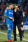 Coach Jose Bordalas Jimenez of Getafe CF (R) gives instruction to Vitorino Gabriel Pacheco Antunes of Getafe CF (L) during the La Liga 2017-18 match between Getafe CF and Athletic Club at Coliseum Alfonso Perez on 19 January 2018 in Madrid, Spain. Photo by Diego Gonzalez / Power Sport Images