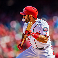 5 April 2018: Washington Nationals outfielder Adam Eaton blows a bubble at bat against the New York Mets at Nationals Park in Washington, DC. The Mets defeated the Nationals 8-2 in the first game of their 3-game series. Mandatory Credit: Ed Wolfstein Photo *** RAW (NEF) Image File Available ***