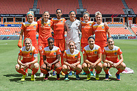 Houston, TX - Saturday May 13, The Houston Dash starting lineup poses for a photo prior to a regular season National Women's Soccer League (NWSL) match between the Houston Dash and Sky Blue FC at BBVA Compass Stadium. Sky Blue won the game 3-1.