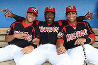 Batavia Muckdogs Felix Castillo, K.J. Woods, and Carlos Duran in the dugout before a game against the Mahoning Valley Scrappers on August 22, 2014 at Dwyer Stadium in Batavia, New York.  Mahoning Valley defeated Batavia 2-1.  (Mike Janes/Four Seam Images)