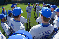 Kentucky Wildcats head coach Nick Mingione addresses his team prior to the game against the North Carolina Tar Heels at Boshmer Stadium on February 17, 2017 in Chapel Hill, North Carolina.  The Tar Heels defeated the Wildcats 3-1.  (Brian Westerholt/Four Seam Images)