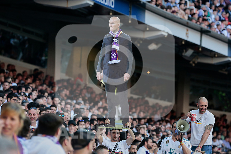 Real Madrid's fans with a real size photo of Zinedine Zidane during La Liga match between Real Madrid and Real Club Celta de Vigo at Santiago Bernabeu Stadium in Madrid, Spain. March 16, 2019. (ALTERPHOTOS/A. Perez Meca)