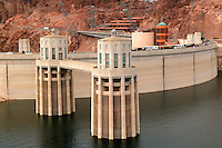 Hover Dam and Lake Mead, from Arizona looking towards Nevada.