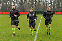 assistant referee Romain Delree , referee Sylvie Deckers , assistant referee Geoffrey Quaranta pictured before a female soccer game between Standard Femina de Liege and Eendracht Aalst on the 12 th matchday of the 2020 - 2021 season of Belgian Scooore Womens Super League , saturday 30 th of January 2021 in Angleur , Belgium . PHOTO SPORTPIX.BE   SPP   STIJN AUDOOREN