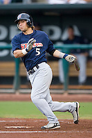 Second baseman Michael Bell (5) of the Huntsville Stars follows through on his swing at the Baseball Grounds in Jacksonville, FL, Wednesday June 11, 2008.