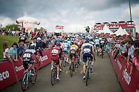 peloton passes the finish line on the Côte de La Redoute (1650m/9.5%) for the first of 3 times<br /> <br /> Eneco Tour 2014<br /> stage 6: Heerlen - La Redoute (Aywaille)