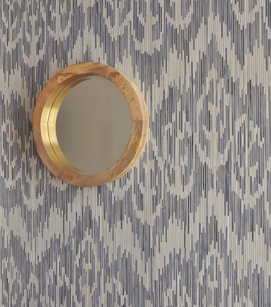 Weft, a jewel glass mosaic shown in Quartz and Pearl, is part of the Ikat Collection by New Ravenna Mosaics.