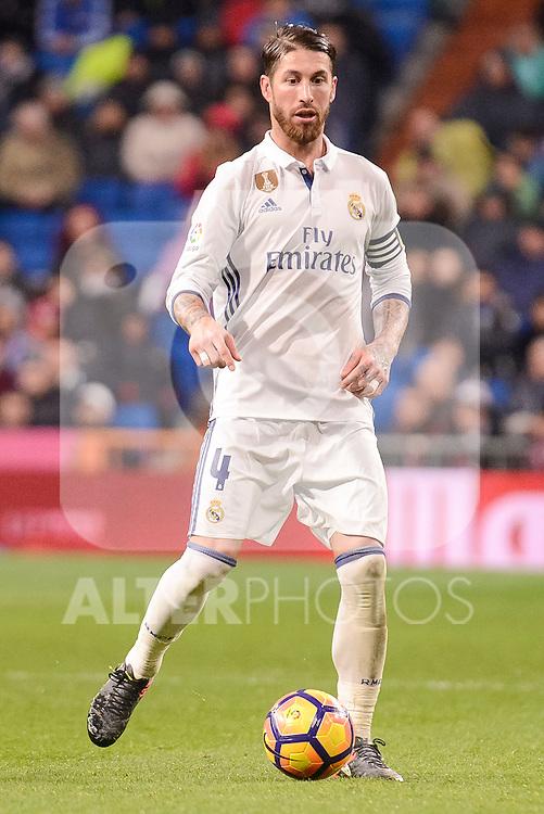 Real Madrid's Sergio Ramos during La Liga match between Real Madrid and Real Sociedad at Santiago Bernabeu Stadium in Madrid, Spain. January 29, 2017. (ALTERPHOTOS/BorjaB.Hojas)