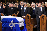 Former Quebec premiers Lucien Bouchard (centre) and Jean Charest (second right) and current Quebec Premier Francois Legault attend the funeral of former Quebec premier Bernard Landry at Notre-Dame Basilica  in Montreal on Tuesday, November 13, 2018. THE CANADIAN PRESS/Paul Chiasson