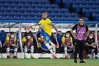 22nd July 2021; Stadium Yokohama, Yokohama, Japan; Tokyo 2020 Olympic Games, Brazil versus Germany; Daneil Alves of Brazil brings down a high pass along the wing