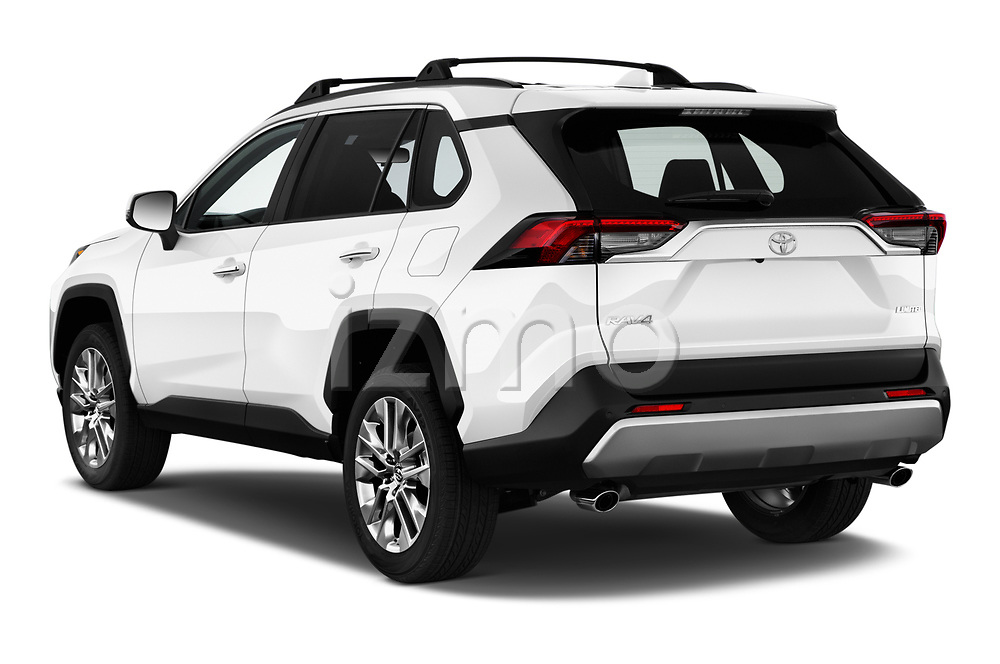 Car pictures of rear three quarter view of a 2019 Toyota RAV4 Limited 5 Door SUV angular rear